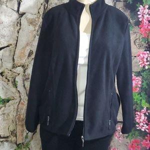 Karen Scott Sport Black Fleece Zip Up Jacket Sz PL